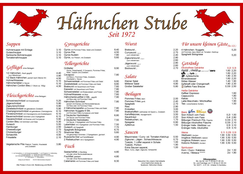 Speisekarte der Hähnchenstube Bergheim